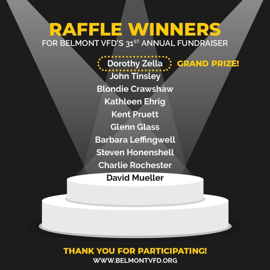 Belmont VFD 2021 Raffle Winners