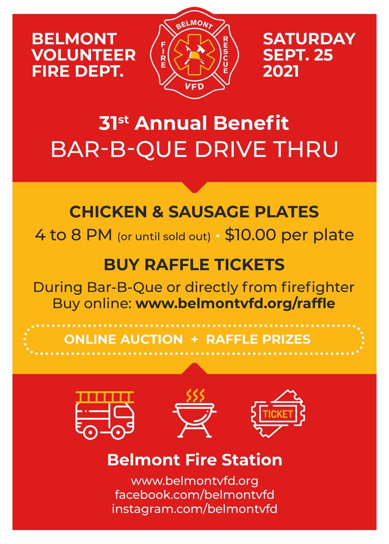 Belmont VFD BBQ Drive Thru Fundraiser Event 2021