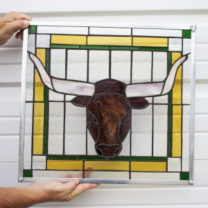 BVFD Auction Texas Longhorn Stained Glass Panel