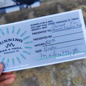 BVFD Auction Running M Gift Certificate